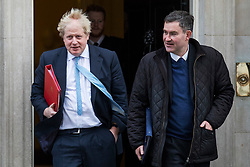 © Licensed to London News Pictures. 27/02/2018. London, UK. Foreign Secretary Boris Johnson (L) and Justice Secretary David Gauke (R) on Downing Street. Photo credit: Rob Pinney/LNP