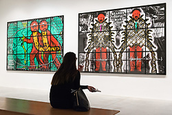 © Licensed to London News Pictures. 21/11/2017. London, UK. A visitor views artwork titled Root Of The Beard and Beards Of War by artists GEORGE PASSMORE and GILBERT PROUSCH otherwise known as GILBERT and GEORGE. The work is showing at the exhibition The Beard Pictures and Their Fuckosophy at the White Cube gallery. Photo credit: Ray Tang/LNP