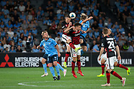 SYDNEY, AUSTRALIA - OCTOBER 26: Western Sydney Wanderers forward Mitchell Duke (7) wins a header during the round 3 A-League soccer match between Western Sydney Wanderers FC and Sydney FC on October 26, 2019 at Bankwest Stadium in Sydney, Australia. (Photo by Speed Media/Icon Sportswire)