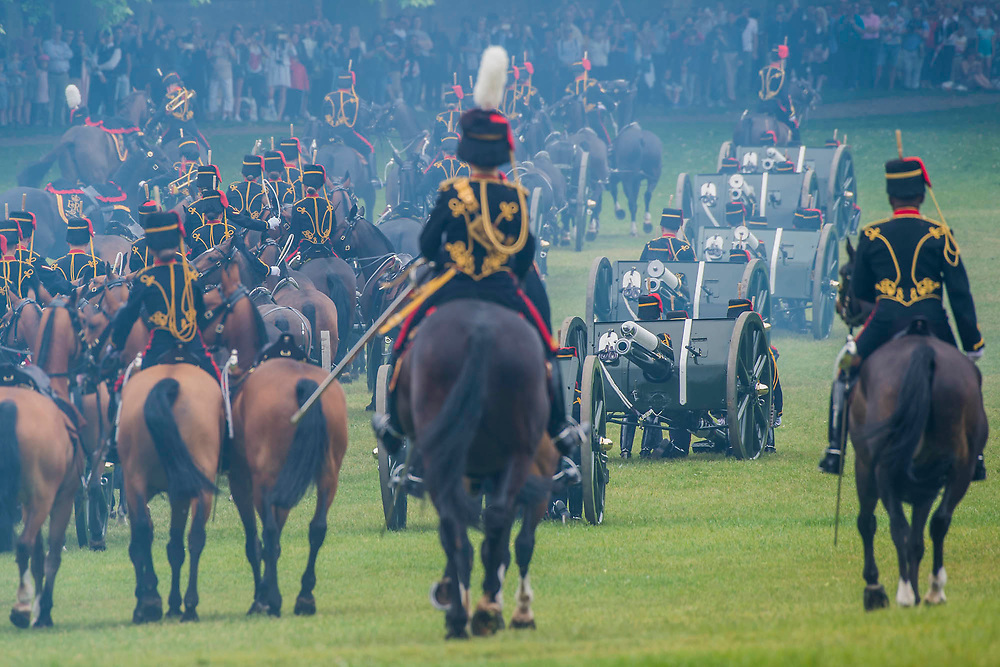 Collecting the Guns after the salute - The King's Troop Royal Horse Artillery fire celebratory a Royal Salute at 1pm on Saturday 2nd June to mark the Coronation Day.