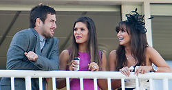 LIVERPOOL, ENGLAND - Friday, April 8, 2011: Liverpool's Joe Cole, wife Carly and Laura Johnson (wife of Glen Johnson) enjoy Ladies Day, Day 2 of the 2011 Grand National meeting at Aintree Racecourse. (Photo by David Tickle/Propaganda)