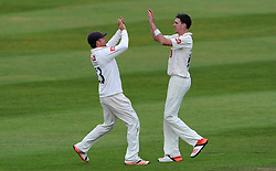 Sussex's Chris Nash and Steve Magoffin celebrate the wicket of Somerset's Marcus Trescothick. - Photo mandatory by-line: Harry Trump/JMP - Mobile: 07966 386802 - 06/07/15 - SPORT - CRICKET - LVCC - County Championship Division One - Somerset v Sussex- Day Two - The County Ground, Taunton, England.
