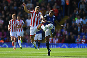 Birmingham City midfielder David Davis (26) battles for possession  with Stoke City forward Lee Gregory (19) during the EFL Sky Bet Championship match between Birmingham City and Stoke City at the Trillion Trophy Stadium, Birmingham, England on 31 August 2019.