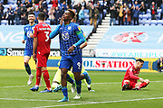 Wigan Athletic forward Jamal Lowe (9) celebrates his goal 1-0 during the EFL Sky Bet Championship match between Wigan Athletic and Nottingham Forest at the DW Stadium, Wigan, England on 20 October 2019.