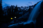 Amazing camp site near a waterfall below Nydiver Lake in the Ansel Adams Wilderness. High Sierra backpacking trip to Garnet Lake and Nydiver Lake in the Ansel Adams Wilderness out of Devil's Postpile national monument 2017.