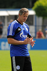 16.07.2013, Trainingsgelaende, Veltins Arena, GER, 1. FBL, FC Schalke 04 Training, im Bild Trainer Jens Keller ( Schalke 04/ Portrait ) gibt Anweisungen. // during a Training Session of German Bundesliga Club Fc Schalke 04 at the Training Ground, Veltins Arena, Germany on 2013/07/16. EXPA Pictures © 2013, PhotoCredit: EXPA/ Eibner/ Thomas Thienel<br /> <br /> ***** ATTENTION - OUT OF GER *****