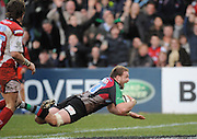 Twickenham, GREAT BRITAIN, Quins,  George ROBSONS,  goes over to score the winning try, during the Guinness Premiership match, Harlequins vs Gloucester Rugby at the Twickenham Stoop.  Sat. 23rd Feb 01.03.2008.  [Mandatory Credit, Peter Spurrier/Intersport-images]