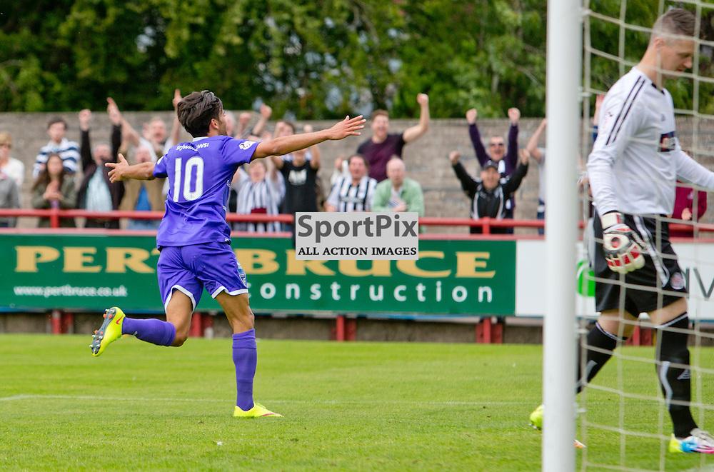 Brechin City v Dunfermline Athletic SPFL League One Season 2015/16 Glebe Park 08 August 2015<br /> Faissal El Bakhtaoui celebrates making it 3-0<br /> CRAIG BROWN | sportPix.org.uk