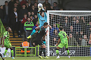 Forest Green Rovers goalkeeper Joe Wollacott(13), on loan from Bristol City catches the ball during the EFL Sky Bet League 2 match between Forest Green Rovers and Plymouth Argyle at the New Lawn, Forest Green, United Kingdom on 16 November 2019.