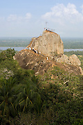 Mihintale is a mountain peak near Anuradhapura in Sri Lanka. It is believed by Sri Lankans to be the site of a meeting between the Buddhist monk Mahinda and King Devanampiyatissa which inaugurated the presence of Buddhism in Sri Lanka.