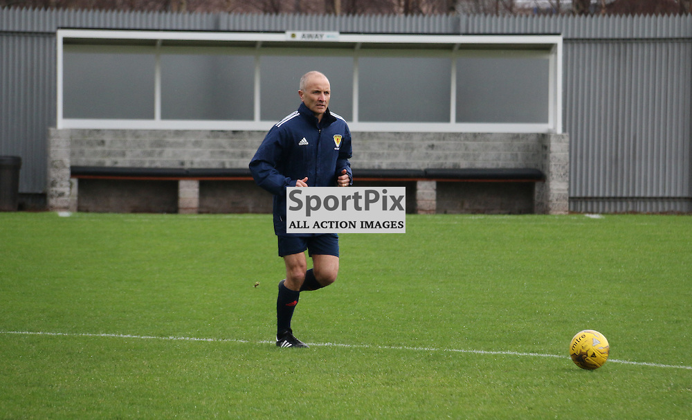 Ref George Salmond does a pitch inspection ahead of the Dumbarton v Queen of the South  Scottish Cup 4th Round game  09 January 2016<br /> <br /> (c) Andy Scott   SportPix.org.uk