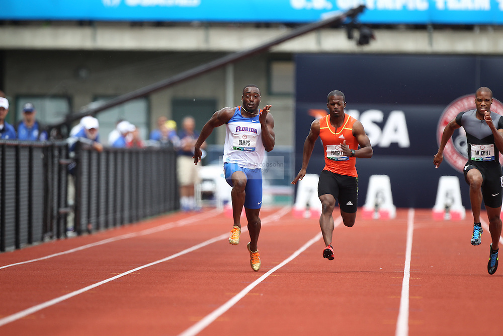 Jeff Demps (L) and Travis Padgett run in the semi-finals of the 100m during day 3 of the U.S. Olympic Trials for Track & Field at Hayward Field in Eugene, Oregon, USA 24 Jun 2012..(Jed Jacobsohn/for The New York Times)....