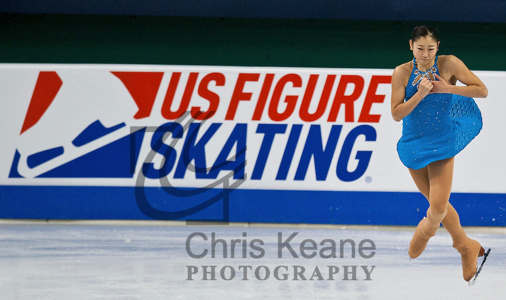 Mirai Nagasu jumps in the air while skating her routine during a practice session at the U.S. Figure Skating Championships in Greensboro, North Carolina on January 26, 2011. REUTERS/Chris Keane (UNITED STATES)