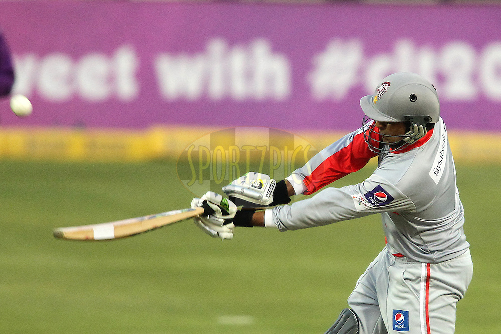 Haris Sohail of Sialkot Stallions hits over the top during 2nd Qualifying match of the Karbonn Smart CLT20 South Africa between Auckland Aces and Sialkot Stallions held at The Wanderers Stadium in Johannesburg, South Africa on the 9th October 2012..Photo by Shaun Roy/SPORTZPICS/CLT20