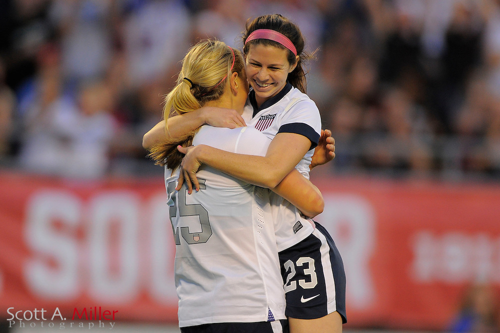 U.S. midfielder Erika Tymrak (23) celebrates after scoring during the United States' 4-1 win over Brazil in an international friendly at the Florida Citrus Bowl on Nov. 10, 2013 in Orlando, Florida. <br /> <br /> &copy;2013 Scott A. Miller