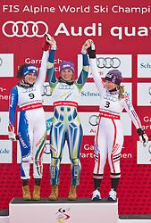 17.02.2011, Kandahar, Garmisch Partenkirchen, GER, FIS Alpin Ski WM 2011, GAP, Riesenslalom, im Bild Winners Presentation, v.l. silber Medaille Federica Brignone (ITA), Gold Medaille und Weltmeister TinaTina Maze (SLO) und bronze Medaille Tessa Worley (FRA) // Winners Presentation, silver medal Federica Brignone (ITA), Gold Medal and World Champion Tina Maze (SLO) und bronze Medal Tessa Worley (FRA) during Giant Slalom Fis Alpine Ski World Championships in Garmisch Partenkirchen, Germany on 17/2/2011. EXPA Pictures © 2011, PhotoCredit: EXPA/ J. Groder