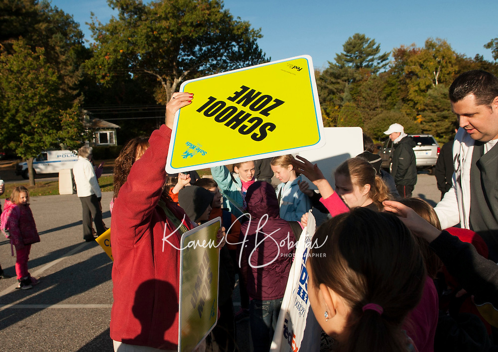 Pleasant Street School walk to school day.   Karen Bobotas / for the Laconia Daily Sun