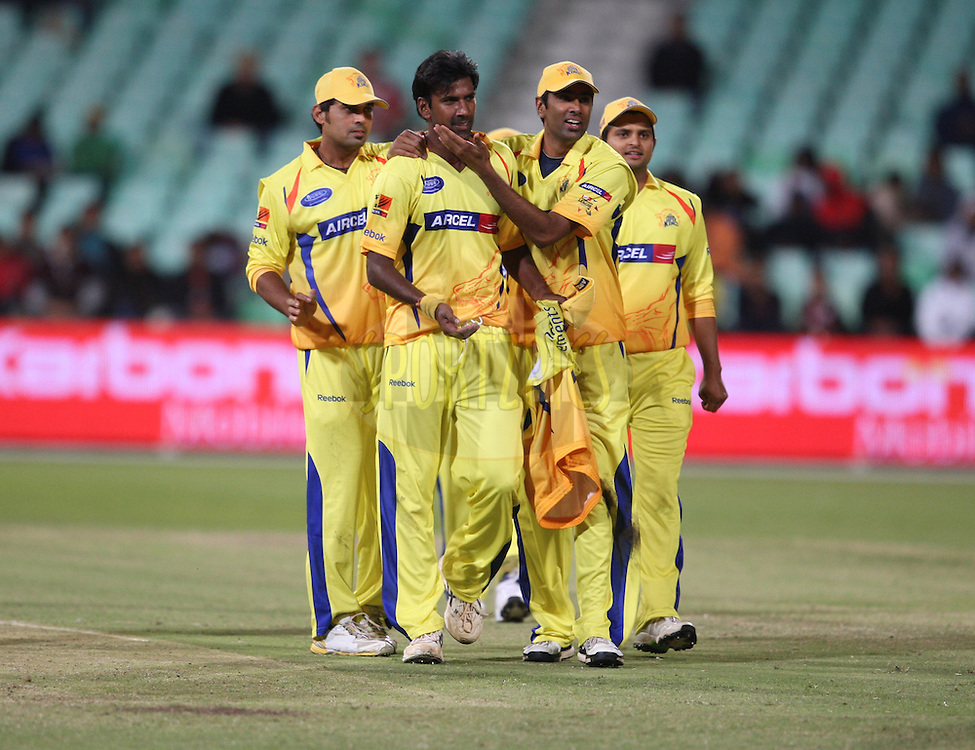 Lakshmipathi Balaji celebrates with his team mates during match 3 of the Airtel CLT20 between The Chennai Superkings and the Central Stags held at Kingsmead Stadium in Durban on the 11 September 2010..Photo by: Steve Haag/SPORTZPICS/CLT20.