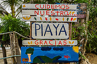"""Protect our beach"" sign; outside Pedasi, Panama"
