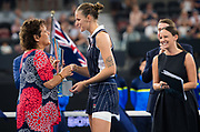 Karolina Pliskova of the Czech Republic with Evonne Goolagong Cawley during the trophy ceremony after the final of the 2020 Brisbane International WTA Premier tennis tournament - Photo Rob Prange / Spain ProSportsImages / DPPI / ProSportsImages / DPPI