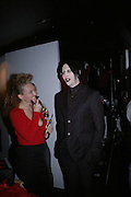 STEPHANIE THEOBALDS AND MARILYN MANSON, Party to celebrate the First issue of British Harper's Bazaar. Cirque, Leicester Sq. London. 16 February 2006. ONE TIME USE ONLY - DO NOT ARCHIVE  © Copyright Photograph by Dafydd Jones 66 Stockwell Park Rd. London SW9 0DA Tel 020 7733 0108 www.dafjones.com