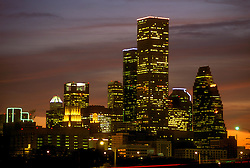 Houston, Texas skyline from the southern side at night.