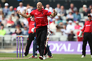 Leicestershire Foxes Dieter Klein shouts for a wicket during the Royal London 1 Day Cup match between Lancashire County Cricket Club and Leicestershire County Cricket Club at the Emirates, Old Trafford, Manchester, United Kingdom on 28 April 2019.