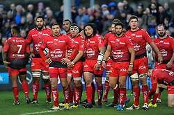 The Toulon team watch the replay on the big screen - Mandatory byline: Patrick Khachfe/JMP - 07966 386802 - 23/01/2016 - RUGBY UNION - The Recreation Ground - Bath, England - Bath Rugby v RC Toulon - European Rugby Champions Cup.