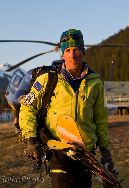 Kip Garre, a heli ski guide for Points North Heli Skiing, working for a Warren Miller movie production with Points North Heli Skiing based out of Cordova, AK on April 18, 2011.