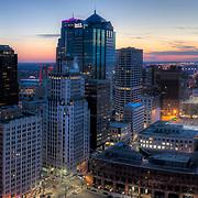 Downtown Kansas City, Missouri skyline panorama photography at dusk