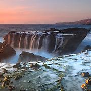Victoria Beach Rock Shelf Waterfall - Dusk
