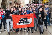 LYON - 23-02-2017, Olympique Lyon - AZ, Parc Olympique Lyonnais Stadion, supportersAZ in de binnenstad van Lyon.