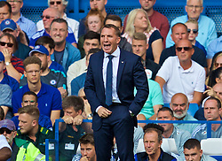 LONDON, ENGLAND - Sunday, August 18, 2019: Leicester City's Brendan Rodgers reacts during the FA Premier League match between Chelsea's  FC and Leicester City FC at Stamford Bridge. (Pic by David Rawcliffe/Propaganda)
