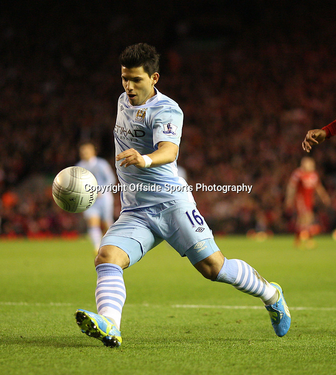 25/01/2012 - Carling Cup Semi-Final (1st Leg) - Liverpool vs. Manchester City - Sergio Aguero of Man City - Photo: Simon Stacpoole / Offside.