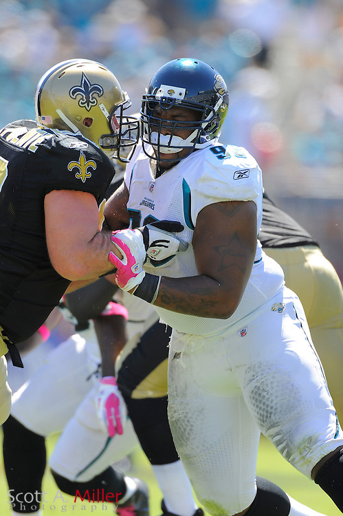 Jacksonville Jaguars defensive tackle Tyson Alualu (93) during the Jags game against the New Orleans Saints at EverBank Field on Oct. 2, 2011 in Jacksonville, Fla...©2011 Scott A. Miller