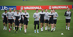 CARDIFF, WALES - Monday, March 21, 2011: Wales players during a training session at the Vale of Glamorgan ahead of the UEFA Euro 2012 qualifying Group G match against England. L-R: Neil Taylor, Lewin Nyatanga, Danny Collins, Chris Gunter, Freddie Eastwood, Simon Church, Gareth Bale, Daniel Gabbidon, Neal Eardley, Andrew Crofts, Andy King, Sam Vokes. (Photo by David Rawcliffe/Propaganda)