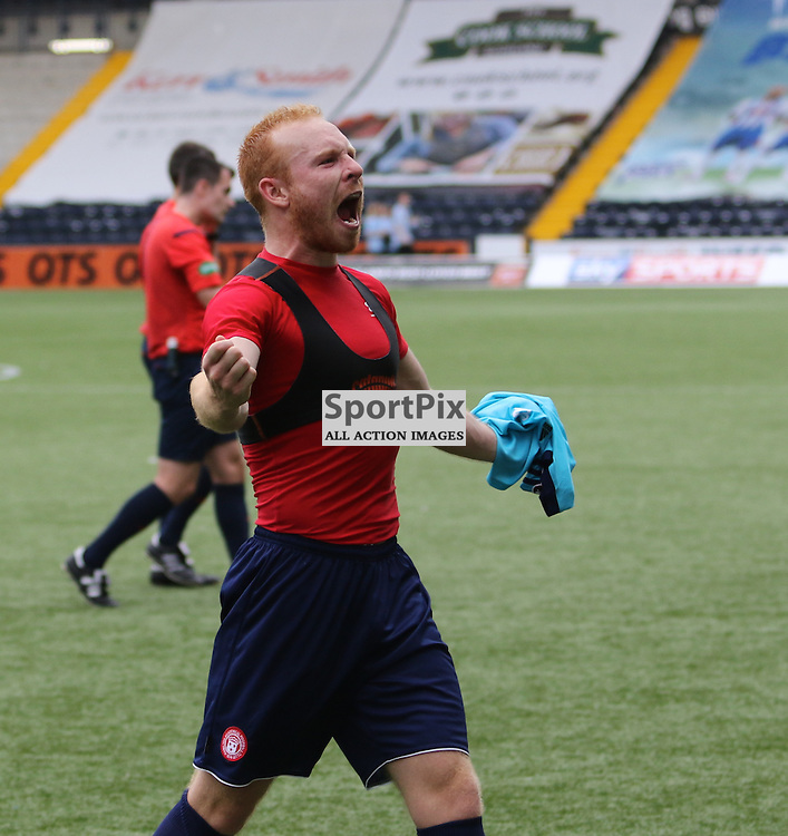 Hamilton's Ziggy Gordon celebrates with the travelling fans during the Kilmarnock FC V Hamilton Academical FC Scottish Premiership 26th September 2015  ©Edward Linton | SportPix.org.uk