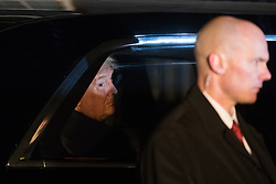 London, UK. 3 December, 2019. Donald Trump, President of the United States, leaves following a reception for NATO leaders at 10 Downing Street on the eve of the military alliance's 70th anniversary summit at a luxury hotel near Watford.