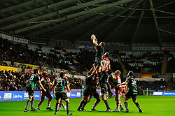 Ospreys Number 8 (#8) Morgan Allen wins a lineout during the second half of the match - Photo mandatory by-line: Rogan Thomson/JMP - Tel: Mobile: 07966 386802 09/11/2012 - SPORT - RUGBY - Liberty Stadium - Swansea. Ospreys v Gloucester - LV= Cup