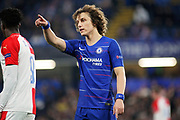 Chelsea FC defender David Luiz (30)  mking a point during the Europa League quarter-final, leg 2 of 2 match between Chelsea and Slavia Prague at Stamford Bridge, London, England on 18 April 2019.