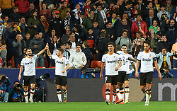 November 5, 2019, Valencia, Valencia, Spain: Valencia players celebrates a goal during the during the UEFA Champions League group H match between Valencia CF and Losc Lille at Estadio de Mestalla on November 5, 2019 in Valencia, Spain (Credit Image: © AFP7 via ZUMA Wire)