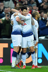 February 13, 2019 - London, England, United Kingdom - Tottenham forward Heung-Min Son celebrates Jan Vertonghen's goal during the UEFA Champions League match between Tottenham Hotspur and Ballspielverein Borussia 09 e.V. Dortmund at Wembley Stadium, London on Wednesday 13th February 2019. (Credit: Jon Bromley | MI News & Sport Ltd) (Credit Image: © Mi News/NurPhoto via ZUMA Press)