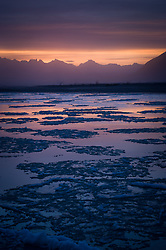 The sun rises on the ice-laden Chilkat River near Haines, Alaska. In the distance are the mountains of the Kakuhan Range along the Lynn Canal, including Sinclair Mountain.
