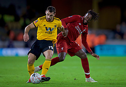 WOLVERHAMPTON, ENGLAND - Monday, January 7, 2019: Wolverhampton Wanderers' Jonny Otto (L) and Liverpool's Divock Origi during the FA Cup 3rd Round match between Wolverhampton Wanderers FC and Liverpool FC at Molineux Stadium. (Pic by David Rawcliffe/Propaganda)