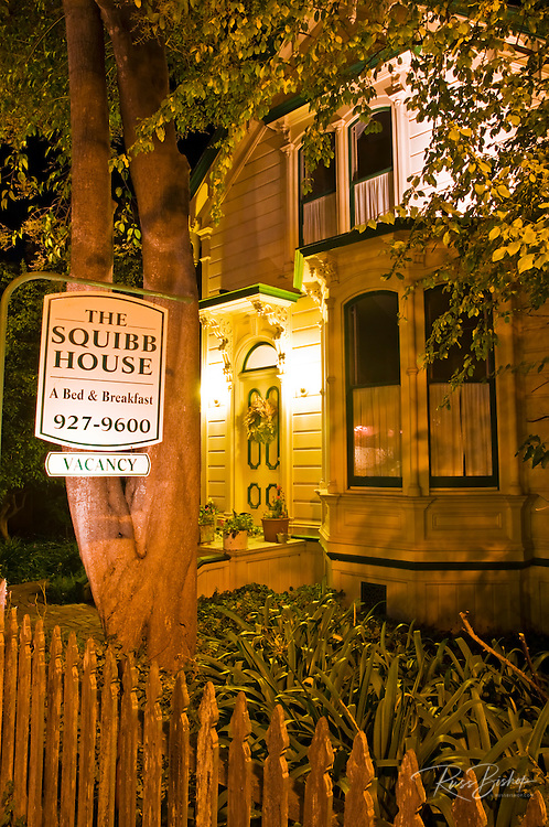 The Squibb House bed and breakfast at night, Cambria, California