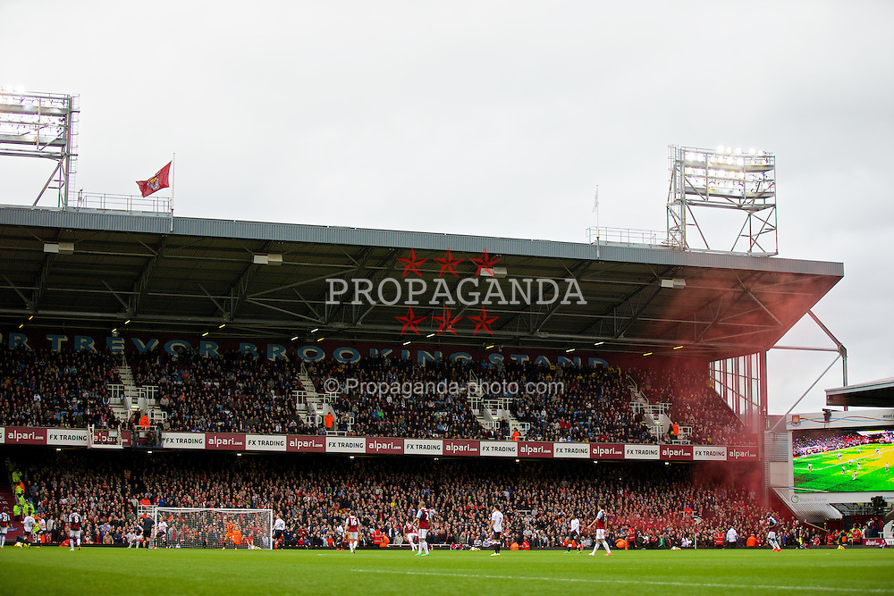 LONDON, ENGLAND - Sunday, April 6, 2014: Liverpool supporters celebrate their opening goal from Steven Gerrard against West Ham United from the penalty spot during the Premiership match at Upton Park. (Pic by David Rawcliffe/Propaganda)