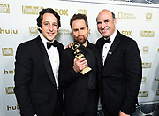 Sam Rockwell, center, poses with Co-heads of production of FOX David Greenbaum, left, and Matthew Greenfield attend FOX 2018 Golden Globes After Party at The Beverly Hilton on Sunday, January 7, 2018, in Beverly Hills, Calif. (Photo by Jordan Strauss/JanuaryImages/Invision/AP)