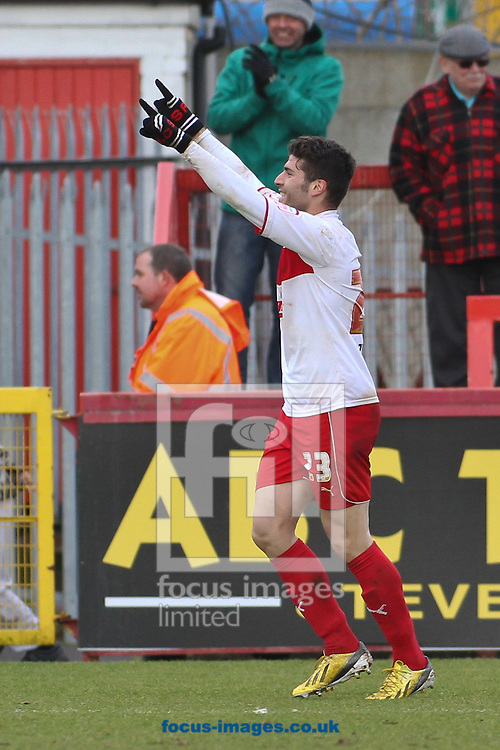Picture by David Horn/Focus Images Ltd +44 7545 970036.16/03/2013.Dani Lopez of Stevenage celebrates scoring his and his side's third goal during the npower League 1 match at the Lamex Stadium, Stevenage.
