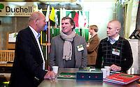 UTRECHT -  Roy Blom  (m) van Amstelborgh met Jos Tambach (PGA) rechts.   , A tribe called Golf, de kracht van de connectie. Nationaal Golf Congres van de NVG 2014 , Nederlandse Vereniging Golfbranche. COPYRIGHT KOEN SUYK