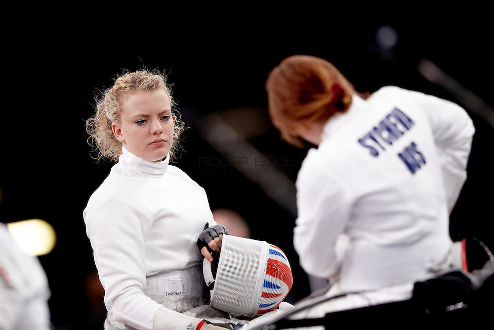 Gemma Collis In the Women's Team Wheelchair Fencing semi final against Russia on day 9 of the London 2012 Paralympic Games. 7th September 2012.